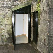 An open cellar door in Dundas Street, Edinburgh